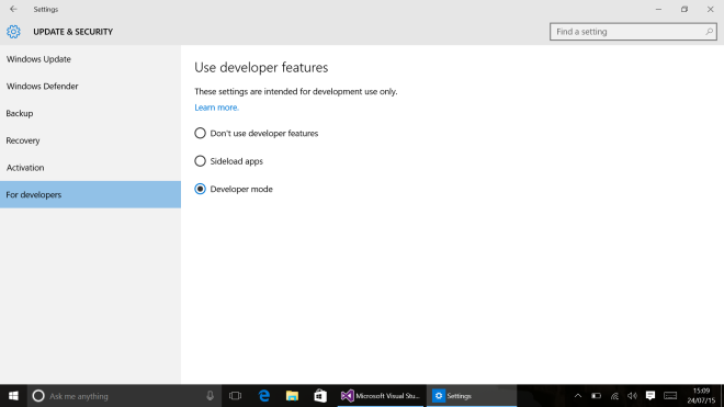 VS 2015 - Developer Mode Enabled