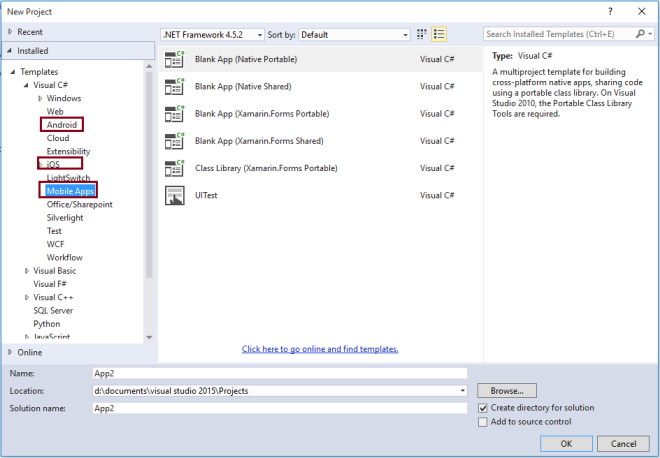 VS 2015 Project Templates