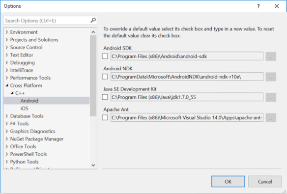 VS 2015 - SDK Location - 1